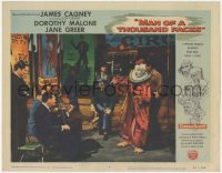 5k1233 MAN OF A THOUSAND FACES LC #4 1957 James Cagney as Lon Chaney Sr. in clown makeup at sideshow!
