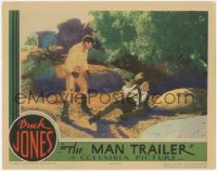 5k1234 MAN TRAILER LC 1934 great image of cowboy hero Buck Jones about to finish off the bad guy!