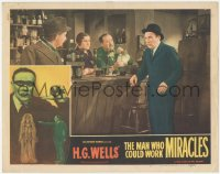 5k1235 MAN WHO COULD WORK MIRACLES LC #5 R1947 worried Rolan Young standing at bar, H.G. Wells!