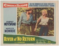 5k1365 RIVER OF NO RETURN LC #4 1954 tough cowboy Murvyn Vye grabs sexiest Marilyn Monroe by the arm!