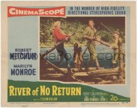 5k1366 RIVER OF NO RETURN LC #7 1954 sexy Marilyn Monroe, Robert Mitchum & Tommy Rettig on raft!