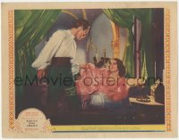 5k1376 ROMEO & JULIET LC 1936 Norma Shearer on bed pleads with Leslie Howard to stay, Shakespeare!