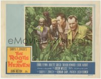 5k1377 ROOTS OF HEAVEN LC #7 1958 Errol Flynn & Trevor Howard in African jungle, John Huston!