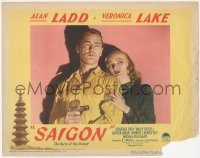 5k1385 SAIGON LC #4 1948 best close up of sexy Veronica Lake holding Alan Ladd with gun!