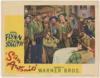 5k1390 SAN ANTONIO LC 1945 great image of Errol Flynn surrounded in crowded saloon!