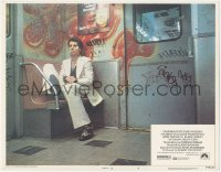 5k1392 SATURDAY NIGHT FEVER rated R LC #4 1977 bandaged John Travolta in white sut smoking on subway!