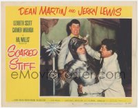 5k1393 SCARED STIFF LC #4 1953 Dean Martin & Jerry Lewis fight with Jack Lambert in suit of armor!
