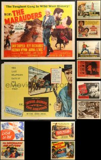 5m0116 LOT OF 14 FORMERLY FOLDED COWBOY WESTERN HALF-SHEETS 1950s a variety of great images!