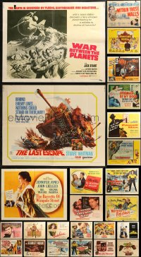 5m0100 LOT OF 25 FORMERLY FOLDED HALF-SHEETS 1940s-1970s great images from a variety of movies!
