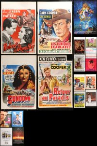 5m0119 LOT OF 25 MOSTLY FORMERLY FOLDED BELGIAN POSTERS 1940s-1990s a variety of movie images!