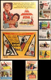 5m0117 LOT OF 12 FORMERLY FOLDED COWBOY WESTERN HALF-SHEETS 1950s-1970s cool movie images!