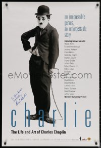 5y0019 CHARLIE: THE LIFE & ART OF CHARLES CHAPLIN signed 27x40 video poster 2003 by Richard Schickel!