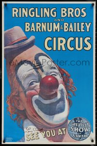 5y0017 LOU JACOBS signed 24x36 REPRO poster 1980s Ringling Bros. and Barnum & Bailey Circus clown!