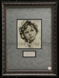 5y0029 SHIRLEY TEMPLE signed 2x4 index card in 17x22 framed display 1940s ready to hang on the wall!