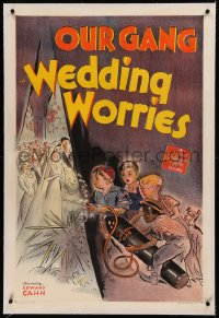 5y0001 WEDDING WORRIES signed linen 1sh 1941 by Spanky McFarland, who's with Bobby Blake & Buckwheat!