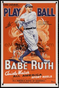 6f0008 PLAY BALL WITH BABE RUTH S2 poster 2001 wonderful artwork of the amazing baseball legend!