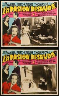 6h0009 LA PASION DESNUDA 2 Spanish/US LCs 1954 Naked Passion, great images of pretty Maria Felix!