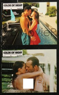 6h0031 COLOR OF NIGHT 12 French LCs 1994 close up of Bruce Willis & Jane March in the heat of desire!