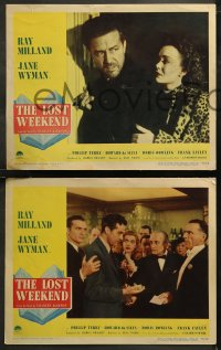 6r1048 LOST WEEKEND 4 LCs 1945 alcoholic Ray Milland, Jane Wyman, directed by Billy Wilder!