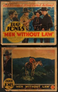 6r1055 MEN WITHOUT LAW 4 LCs R1934 cowboy Buck Jones & his horse in a thrilling all-talking western!