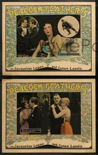 6r1061 PEACOCK FEATHERS 4 LCs 1925 Jacqueline Logan realizes Landis is in trouble, cool border art!