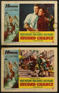6r1067 SECOND CHANCE 4 3D LCs 1953 Robert Mitchum & sexy Linda Darnell, cool cable car scenes!