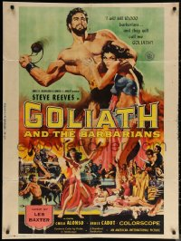 6s0021 GOLIATH & THE BARBARIANS 30x40 1959 marvelous art of Steve Reeves & sexy Chelo Alonso!