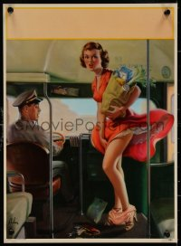 6s0025 ART FRAHM calendar sample 1950s sexy art woman dropping panties on bus, A Fare Loser!