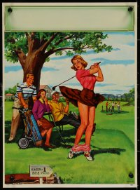 6s0024 ART FRAHM calendar sample 1950s sexy art woman dropping panties golf course, Early Trouble!
