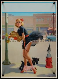 6s0026 ART FRAHM calendar sample 1950s sexy art woman dropping panties with dog, Hold Everything!