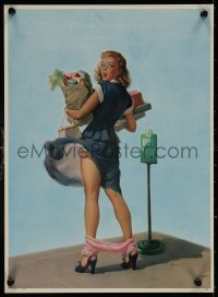 6s0023 ART FRAHM calendar 1950s great sexy art woman dropping panties with groceries, O-oh!