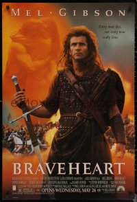 6s0962 BRAVEHEART advance DS 1sh 1995 Mel Gibson as William Wallace in the Scottish Rebellion!