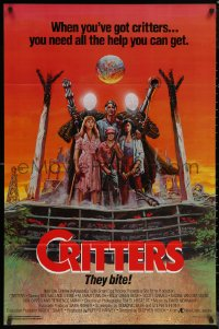 6s0978 CRITTERS 1sh 1986 great completely different art of cast & monsters by Ken Barr!