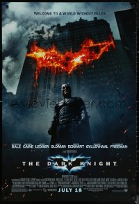 6s0980 DARK KNIGHT advance DS 1sh 2008 Christian Bale as Batman in front of burning bat symbol!