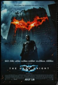6s0982 DARK KNIGHT int'l advance DS 1sh 2008 Christian Bale as Batman in front of burning bat symbol!