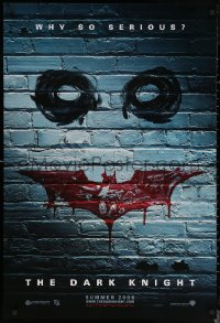 6s0984 DARK KNIGHT teaser DS 1sh 2008 why so serious? cool graffiti image of the Joker's face!