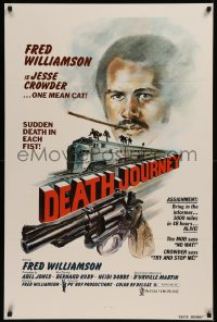 6s0994 DEATH JOURNEY 1sh 1975 Fred Williamson, cool train and gun artwork design by Joe Smith!