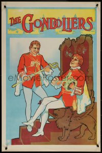 6s0228 GONDOLIERS stage play English double crown 1910s Marco & Giuseppe clean King's sword & crown!