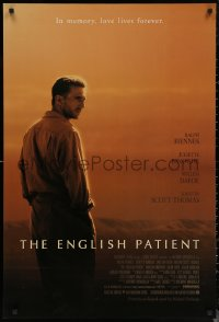 6s1014 ENGLISH PATIENT DS 1sh 1997 Ralph Fiennes, in memory, love lives forever, Best Picture Winner!