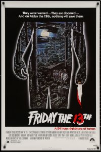 6s1027 FRIDAY THE 13th 1sh R1980s great Alex Ebel art, slasher classic, 24 hours of terror!