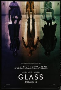 6s1036 GLASS teaser DS 1sh 2019 M. Night Shyamalan, reflections of Samuel Jackson, Willis, McAvoy!
