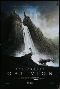 6s1161 OBLIVION teaser DS 1sh 2013 Morgan Freeman, image of Tom Cruise & waterfall in city!
