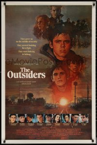6s1167 OUTSIDERS int'l 1sh 1982 David Grove art of Howell, Dillon, Macchio, Swayze, Lowe, cast!