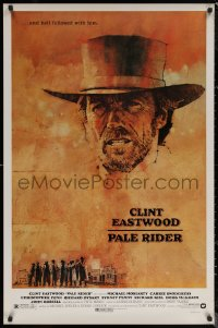 6s1169 PALE RIDER 1sh 1985 close-up artwork of cowboy Clint Eastwood by C. Michael Dudash!