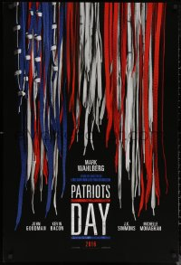 6s1171 PATRIOTS DAY teaser DS 1sh 2016 Peter Berg, Mark Wahlberg, U.S. flag made out of shoe laces!