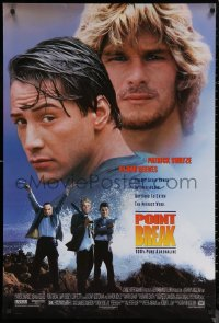 6s1179 POINT BREAK DS 1sh 1991 Keanu Reeves, Patrick Swayze and gang in masks, robbery & surfing!