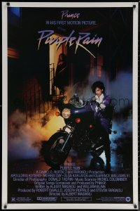 6s1186 PURPLE RAIN 1sh 1984 great image of Prince riding motorcycle, in his first motion picture!