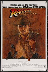 6s1188 RAIDERS OF THE LOST ARK 1sh 1981 great art of adventurer Harrison Ford by Richard Amsel