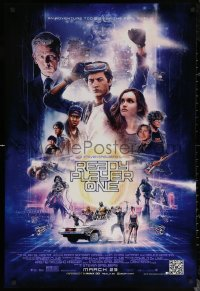 6s1192 READY PLAYER ONE advance DS 1sh 2018 Steven Spielberg, cast montage by Paul Shipper!