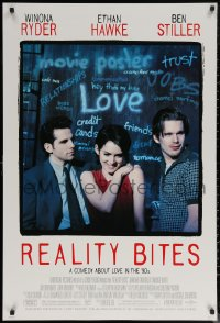 6s1193 REALITY BITES DS 1sh 1994 Winona Ryder, Ben Stiller, Ethan Hawke, comedy about love in the '90s!